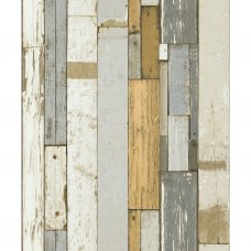 Grey and orange pallet wood wallpaper by Koziel