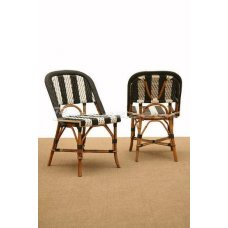 Set 2 plastic and cane norde chair by Brucs